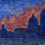 11-Autunno-a-Venezia-Punta-della-dogana-e-chiesa-della-Salutre-al-crepuscolo